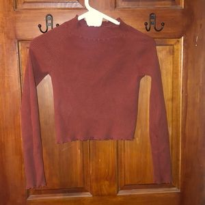 Kendal and Kylie Lettuce Edge Maroon/red sweater